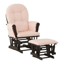 Storkcraft - Custom Hoop Glider and Ottoman in Black Finish with Pink Cushion - A beautiful glider that offers the generous comfort of your favorite sofa, but has the ability to glide you into a relaxed, tranquil state. Imagine yourself in that perfectly matching glider and ottoman combination for your nursery, relaxing with your baby before bed. Well, look no further, this stylish Glider and Ottoman can offer it all and is sure to be your favorite! It's constructed of exquisite micro fiber fabrics, with soft, padded arm cushions and a large pocket to store your baby essentials. Set-up this classy nursery piece with ease and get ready to unwind with your baby.