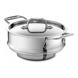 All Clad - All Clad SS All-Purpose Steamer Insert - The stainless steel all-purpose steamer is designed to fit 2, 3 and 4 quart All-Clad sauce pans and casseroles. Complete with a tight-fitting lid, the insert has 2 stainless riveted wide loop handles for easy removal from the pan. Simply add vegetables or seafood to the insert to quickly prepare fresh and flavorful dishes.                                                          -Durable heavy-gauge stainless construction