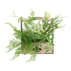 """D&W Silks - Artificial Lace Fern, Pearl Grass and Dill Spray in Fleur-De-Lis Planter - It's amazing how much adding a plant can change the look of a room or decor, but it can be difficult if your space is not conducive to growing plants, or if you weren't exactly born with a """"green thumb."""" Invite the beauty of nature into your home without all the upkeep with this maintenance-free, allergy-free arrangement of artificial lace fern, pearl grass and dill spray in a fleur-de-lis planter. This is not a living plant."""