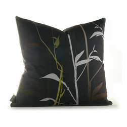 """Inhabit - Morning Glory Tall Grass Pillow in Charcoal and Olive - The Morning Glory collection makes being in a room an easy thing to do. Don't blame us if you are late for work, sleep right through morning mass or find yourself secretly wishing for rainy days. We use perfect thread counts matched with the right fabrics to ensure ridiculous softness and comfort. Features: -Morning Glory collection. -Made from 100% sustainable recycled polyester. -Handprinted and handmade in the USA. -Environmentally-friendly inks with no chemical waste or disposal generated. -Recyclable at the end of its life-cycle. -Zipper closure for easy removal and cleaning. -Pillow inserts are 95% feather / 5% down. Specifications: -Material: Polyester. -Available sizes:. -18"""" W x 18"""" L. -13"""" W x 24"""" L."""