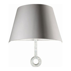 ITALAMP - ITALAMP 791 Lola Royale Wall Lamp - The 791 Lola Royale Wall Lamp has been designed and made by Italamp. 791 Wall Light is a contemporary lamp made of metal, plexiglas and Swarovski elements. This modern wall lamp is a beautiful addition in any kind of room, small or large, home, office or hotel settings. The 791 Lola Royale lamp consists of a metal structure which sustains its body in colored plexiglas and finishes. The plexiglas lampshade is available in dove, white and dark green color tones and the crystal rocks are Swarovski details in black, transparent and teak color tones. The 791 lamp is available in a single version with 2 lights. The 791 Lola Royale Wall Lamp is dimmable and when is turned on the lamp diffuses a parade of light with bright personality. Illumination is provided by one E12, 40W Halogen, or 8W Energy Saving, or 4W LED bulb (not included).      Product Details: The 791 Lola Royale Wall Lamp has been  designed  and made by Italamp. 791 Wall Light is a contemporary   lamp made of      metal,  plexiglas and Swarovski elements. This modern  wall lamp is a beautiful  addition in any kind of room, small or large, home, office or hotel settings. The  791 Lola Royale lamp consists of a metal structure which sustains its body in colored plexiglas and finishes.   The plexiglas lampshade is available in dove, white and dark green color tones and the crystal rocks are Swarovski details in black, transparent and teak color tones. The 791 lamp is available in a single version with 2 lights. The 791 Lola Royale Wall Lamp is dimmable and when is turned on the lamp diffuses a parade of light with bright personality. Illumination is provided by one E12, 40W Halogen, or 8W Energy Saving, or 4W LED bulb (not included). Details:                         Manufacturer:            Italamp                            Designer:            Italamp                            Made in:            Italy                            Dimensions:                        
