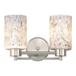 Design Classics Lighting - Satin Nickel Modern Bathroom Light with Grey Art Glass - 702-09 GL1025C - Contemporary / modern satin nickel 2-light bathroom light. Takes (2) 100-watt incandescent A19 bulb(s). Bulb(s) sold separately. UL listed. Damp location rated.