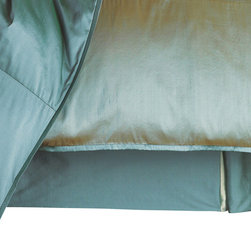 """Mystic Valley - Mystic Valley Traders Profiles Silk Turquoise - Bed Skirt, Queen - The Profiles Silk Turquoise bed skirt is fashioned from the Turquoise fabric; it is lined and tailored with an inverted foot pleat and double-inverted side pleats and Seafoam pleat inserts, featuring a bottom blue grosgrain accent, with a 16"""" drop."""