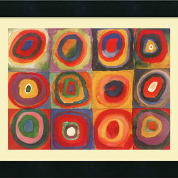 Amanti Art - Farbstudie Quadrate, 1913 Framed Print by Wassily Kandinsky - Bring brilliant color and energy to your decor with this gallery quality print. The vibrant Kandinsky work is perfectly set off by a cream-linen mat and black-satin wood frame — an inspiring addition to your favorite setting.