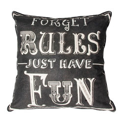 Forget Rules Decorative Pillow - This striking typography pillow from the Graham & Brown collection is perfect to bring a fun, quirky atmosphere into your home. Forget rules and just have fun, this happy go lucky quote is sure to bring a smile to your face. Made from 100% cotton at the beautiful size of 50x50cm and generously filled with polyester hollow fibre this quirky pillow is both plush and cosy. Featuring a complimenting coloured back and colour co-ordinating piping and zip, each pillow in our unique range is finished to perfection.
