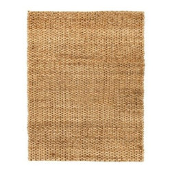Anji Mountain AMB0330 Cira Jute Rug - Natural / Gold - Bring a magnificent, chunky texture to any space with the Anji Mountain AMB0330 Cira Jute Rug - Natural / GoldAbout Anji Mountain Bamboo Rug Co.Anji Mountain Bamboo rugs and office chair mats are ecologically friendly. Bamboo has a robust root system that generates multiple new shoots for every mature stalk that is harvested. Unlike hardwood that can take decades to grow to a mature height ready for harvest, bamboo grows 8-12 feet a year! When you purchase a rug or office mat from Anji Mountain Bamboo Rug Co., you help support the ecologically responsible practice of regulating sustainable bamboo forests instead of clear-cutting old-growth hardwood forests.The dense, durable bamboo that Anji Mountain Bamboo Rug Co. uses is carbonized and kiln dried to remove moisture, which helps prevent cracking and warping. Because of this process, their bamboo rugs and office chair mats are ready to withstand the dry heat of your home or office in the wintertime or the arid climate of those living in the desert and mountains.