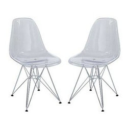"LexMod - Paris Dining Side Chair Set of 2 in Clear - Paris Dining Side Chair Set of 2 in Clear - These molded plastic chairs are both flexible and comfortable, with an exciting variety of base options. Suitable for indoors or out, appropriate for the living and dinning room, these versatile chairs are a great addition to any home dcor statement. Set Includes: Two - Paris Wire Side Chair in Clear Iconic modern dining and kitchen chair, Molded ABS plastic seat, Wire legs with non marking feet, Some assembly required Overall Product Dimensions: 13""L x 23""W x 28""H - Mid Century Modern Furniture."