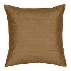 The Silk Group - India Bronze 22x22-Inch Square Silk Shantung Luxury Decorative Pillow Cover Only - - Handcrafted in the USA, these decorative pillows are ideal for adding that special finishing touch to any space. Available in over 100 colors, several of them can be combined for a grouping of complementary colors or contrasting shades. They feature 100% Grade A Silk Dupioni, the finest, highest quality, most exquisite silk fabric on the market. A high quality knit backing is permanently bonded to the back of the fabrics used in our pillows. The knit backing adds body, increased stability, and longevity to the pillow. An invisible, color-coordinated zipper is discretely placed on the bottom edge of the pillow, so both faces of the pillow are able to be displayed. The fabric face has been treated with the most durable and permanent eco-friendly stain, moisture and UV repellents available. Using nanotechnology, the repellents penetrate deeply into the fibres of the fabric through a gentle heat curing process. This provides long lasting protection from water, alcohol, and oil-based stains as well as resistance from fading, and discoloring over time  - Pillow cover only  - Laundering Information: Dry clean only  - Made in USA The Silk Group - SQ_Shant_Sol_India_Bronze_22x22_CO