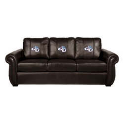 Dreamseat Inc. - University of New Hampshire NCAA Chesapeake Brown Leather Sofa - Check out this Awesome Sofa. It's the ultimate in traditional styled home leather furniture, and it's one of the coolest things we've ever seen. This is unbelievably comfortable - once you're in it, you won't want to get up. Features a zip-in-zip-out logo panel embroidered with 70,000 stitches. Converts from a solid color to custom-logo furniture in seconds - perfect for a shared or multi-purpose room. Root for several teams? Simply swap the panels out when the seasons change. This is a true statement piece that is perfect for your Man Cave, Game Room, basement or garage.