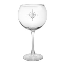Rolf Glass - Compass Rose Balloon Wine Glass 19oz, Set of 4, Clear, 7.875x3.438, Balloon - No matter what direction you are headed, you need a steady compass to guide you home. The Compass Rose collection helps you stay the course through calm seas or squalls. This classic nod to navigation is the perfect edition to any elegant evening. Whether you fancy yourself Captain Stubing or Captain Jack, your designer intuition will always point True North.  Made in USA.  Set of 4
