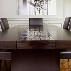 Oak & Bamboo Dining Table - This is a modern custom made oak and bamboo dining table that we did for a client. It has a dark stain finished rift oak top on both sides and high gloss bamboo runner in the center.