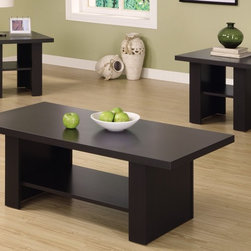 Monarch Specialties - Hollow-Core 3-Pc Occasional Table Set - Includes one cocktail and two end tables. Rectangular cocktail table. Square end tables. One storage shelf on each table. Matte cappuccino finish. Cocktail table: 47 in. W x 23.5 in. D x 17.5 in. H. End table: 23.5 in. W x 23.5 in. D x 20.5 in. H. Overall weight: 103 lbs.