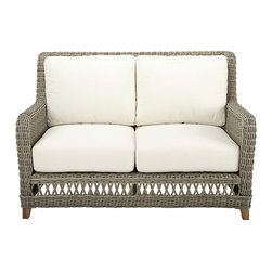"""Ballard Designs - Laurel Loveseat - Coordinates with Laurel Outdoor Collections and Classic Teak Collections. Includes washable off-white box cushions. Cushions are extra thick for long lasting comfort with tailored top stitching on all seams. All cushions attach to """"D"""" rings for snug fit that stays in place. Weathered gray finish. The Laurel Outdoor Collection has a classic look that reminds us of warm summer days from long ago. Each piece starts with a sturdy, rust-resistant aluminum frame and then hand woven of durable, all-weather wicker to resist fading and damaging moisture. Off-white box cushion and natural teak feet add the perfect finishing touches. Laurel Loveseat features:. . .  . . Natural teak feet. Use of an outdoor furniture cover is recommended to extend the life of your piece."""