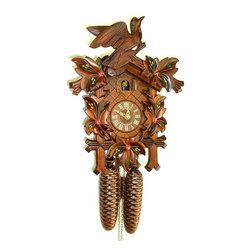 Schneider Cuckoo Clocks - 8-Day Traditional Cuckoo Clock w Door - Carved style. Mechanical clock requires the weights be wound up after every 7 day cycle. 8-day rack strike movement. Features single stationary carved bird atop the housing. Moving birds with music. Carving with painted flowers. Cuckoo peeks out and calls at every half and full hour. Wooden cuckoo, dial with roman numerals and hand. Shut-off lever on left side of case, silences the strike and call. Does not play music. Manual shut-off lever. Hand painted flowers. Made from wood. Made in Germany. 11.81 in. W x 6.69 in. D x 16.54 in. H (10.14 lbs.). Care Instructions