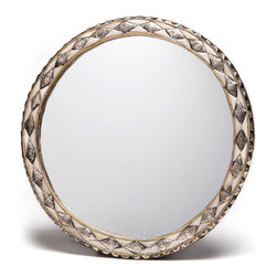 Moroccan Buzz - 18 Inch Round Moroccan White Bone Mirror - This distinctive wall mirror is framed with inlaid, hand-carved bone and hand-embossed metal. Handcrafted and sourced directly from the artisan in the medina (old town) of Marrakech, Morocco.
