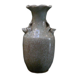 Golden Lotus - Chinese Celadon Crackle Ceramic Pottery Vase - This is a hand made pottery vase in crackle pattern celadon light green color with relief flower accent.