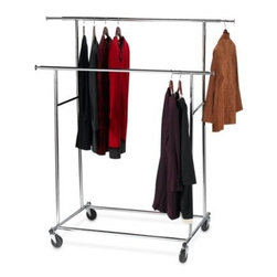 Richards Homewares - Commercial Grade Dual Garment Rack - Need more closet space? Use this Commercial Grade Dual Garment Rack to handle the overflow from too-small closets.