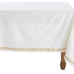 Coyuchi - Coyuchi Simple Stitch Chambray Tablecloth White - Linen and cotton yarns, dyed slightly different hues before weaving, lend our tablecloth soft, nuanced color and wonderful drape. Stitched stripes run along each edge and cross at the corners.
