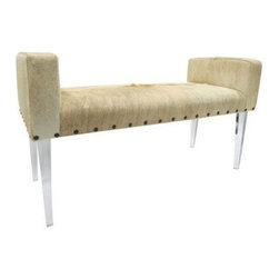 Larson Lucite Bench - Larson-styled custom designed bench covered in an organic, greige-tone cowhide finished with decorative nailheads along bottom and rests on tapered lucite legs. Seat height of 19''.