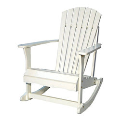 International Concepts - International Concepts Adirondack Porch Rocker in White Finish - International Concepts -Adirondack Chairs -R52581 -Why don't you have a seat and enjoy the beauty of mother nature with the Porch Rocker in White Finish by International Concepts. The solid hardwood construction of this seat ensures that it will stand up to the tests of time. The Porch Rocker. Enjoy the great outdoors in style.