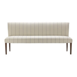 Fitzgerald Upholstered Bench, French Stripe - Place this handsome bench in your walk-in closet for friends who are helping make a decision about what to wear, or to use as a place to drape tomorrow's outfit.
