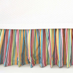 Pine Cone Hill Rainbow Stripe Bed Skirt - If you love color, this just may be the bed skirt for you! I'd love to use this in a kids' room or even in an eclectic guest room. I'd pair it with an elegant but quirky wallpaper to make it feel more sophisticated.