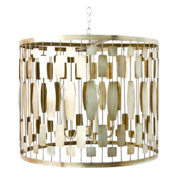 Worlds Away - Worlds Away 3-Light Champagne Silver Leaf Wire Drum Pendant LEONA S - Champagne silver leaf wire drum pendant with 3-light cluster for 40W bulbs. Comes with 3' silver chain and canopy.
