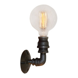 West Ninth Vintage - Industrial Style Wall Sconce - Simplistic in design, industrial style light functional for residential, commercial or retail setting. This fixture is hardwired. Made with standard size heavy duty light sockets and shown here with an Edison bulb. Any  standard bulb can be used. Handcrafted in the USA.