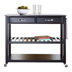 Crosley Furniture - Crosley Kitchen Cart Island Solid Black Granite Top in Black - Crosley Furniture - Kitchen Carts - KF30054BK