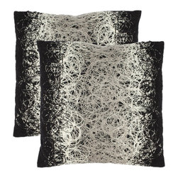 Safavieh - Safavieh Swirls 18-inch Black Decorative Pillows (Set of 2) - With an all-over silver abstract pattern,these black modern decorative pillows could easily become a focal piece in your home. This set of two square pillows will add an artistic element to any space in your home without taking wall space.