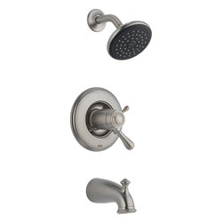 Delta - Delta T17T478-SS Leland TempAssure 17T Series Tub & Shower Trim with Volume Cont - Delta T17T478-SS Leland TempAssure® 17T Series Tub & Shower Trim with Volume Control, Tub Spout and Single Function Showerhead in StainlessThe Leland Bath Collection gracefully reinterprets the time-honored teapot design with decorative, traditional detailing.  Let the shower become your private sanctuary where body sprays and showerheads work in perfect harmony.  Delta faucets with TempAssure® Thermostatic valves monitor the temperature of the water and adjust the mix automatically to maintain precise temperature control and to keep the water temperature in your shower within a safe ±3° F (±1.6° C). You emerge every day refreshed.  Offered in three popular finishes, the Leland Bath Collection comes with a full suite of coordinating accessories, providing a decorative look throughout the bath.Delta T17T478-SS Leland TempAssure® 17T Series Tub & Shower Trim with Volume Control, Tub Spout and Single Function Showerhead in Stainless, Features:• Only Delta faucets are equipped with Touch-Clean® soft, rubber nubbins that allow you to easily wipe away calcium and lime build-up with the touch of a finger.