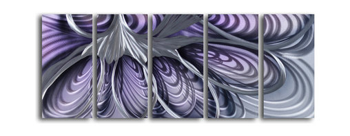 """'The Hive' 5 Piece Handmade Metal Wall Art Set - Size: 24"""" x 60"""" (24"""" x 12"""" x 5pc).  Enjoy a 100% hand crafted metal wall art made of high grade brushed aluminum over a 1/2 inch thick inner wooden frame. This beautiful wall decor is hand painted and ready to hang out of the box. Each aluminum sheet is hand sanded and hand grinded until the desired holographic effect is accomplished. This process brings the artwork to life and you see it moving as you walk by. Then the grinded panels are hand painted with multiple layers of paint and finished with clear UV coat. With each purchase of our metal art you receive a one of a kind piece due to the handcrafted nature of the product. Hand crafted by a single talented artist. Due to the handcrafted nature, each piece may have subtle differences."""