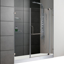 Vigo - 60in.  Frameless Shower Door 3/8in.  Clear Glass Brushed Nickel Hardware with Wh - Experience fine quality combined with superior design in a VIGO frameless shower door with matching 60in.  x 30in.  shower base.