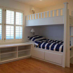 Custom built in bunk beds - Built in Sea Island bunk beds with bookcase.