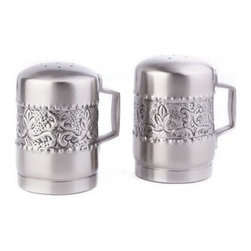 """Old Dutch - 4""""H. Antique Embossed Victoria Stovetop Salt/Pepper Set - Accent your kitchen with these stovetop salt-and-pepper shakers. Made from antique pewter-plated stainless steel and embossed with a handcrafted chaised motif, these shakers are an absolute kitchen essential."""