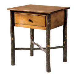Flat Rock Furniture - Flat Rock Berea Occasional Table - The Berea Occasional Table can serve as either a side table or nightstand. It features hickory poles and solid pine top.