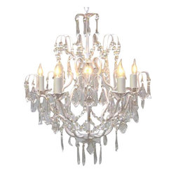 Gallery - Gallery T40-422 Wrought Iron 5 Light 1 Tier Crystal Candle Style Chandelier - Features: