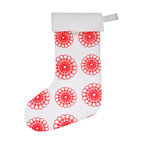 """artgoodies - Doily Felt Stocking - An original hand carved linocut block print by Lisa Price has been made into a repeating pattern and then printed onto felt made of 100% recycled plastic bottles and sewn into a holiday stocking just for you! A festive modern twist on a holiday classic! Measures about 15"""" long."""