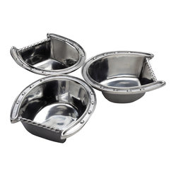 Arthur Court - Horseshoe 3-Bowl Server - If you're looking for a unique and elegant way to serve olives, sauces, nuts or other nibbles, you're in luck. This 10-1/2-inch-diameter server features three connected horseshoe-shaped bowls in cast aluminum so you can shine like the thoroughbred you are.