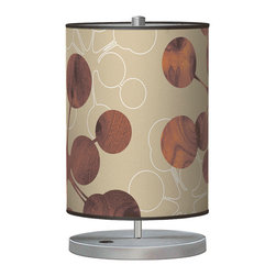 jefdesigns - Bubble 1 Cylinder Table Lamp - Buoyant bouncing bubbles in organic wood grain and their tracings in white grace this cool cylinder table lamp. You'll be equally captivated by its slim lines and simple metal stand. It's the masterpiece of Joe Futschick.