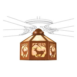 Meyda - Meyda Tiffany Lone Deer Fan Light Shade - A Wildlife Inspired Leaping White Tail Deer Framed In Trees Circles This Branch Accented Flushmount Fixture. The Rustic Fixture Has Beige Art Glass Framed In Rust and is Handcrafted In The USA By Meyda Artisans. Fan Not Included. Meyda Tiffany was founded when Meyer Cohen was asked by his wife Ida (whose names were combined into the company name Meyda) to build a stained glass window in their kitchen so they wouldn't have to look at the vintage cars in their neighbor's driveway. What began as a hobby evolved into America's leading and oldest manufacturer of custom and decorative lighting. Today Meyda is still a family-run business with the Cohens' son Robert at the helm. Features include Theme: Rustic Lodge Art Glass Animals Country Family: Lone Deer Every Meyda Tiffany item is a unique handcrafted work of art. Natural variations in the wide array of materials that they use to create each Meyda product make every item a masterpiece of its own. Photographs are a general representation of the product. Colors and designs will vary.. Specifications Number Of Bulbs: 1 Bulb Wattage: 100 Bulb Type: Medium Base.