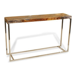 Interlude - Adisa Console - Teak and cracked resin top contrasts beautifully with the stainless base.