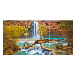 Picture-Tiles, LLC - Waterfall Picture Kitchen Bathroom Ceramic Tile Mural  18 x 36 - * Waterfall Picture Kitchen Bathroom Ceramic Tile Mural 2058