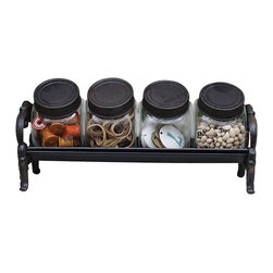 Park Hill Collection - Decorative Glass Jars w/ Cast Iron Lids & Rack Set - Four little lidded glass jars in a cast iron rack tilted rakishly forward for ease of accessing the contents. Pour in your most used spices and position the rack stove side or let the kids use them to round up hair bows, buttons and crayons.