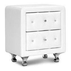 Baxton Studio - Baxton Studio Stella Crystal Tufted White Upholstered Modern Nightstand - Stella is a glamorous designer nightstand that takes it up a notch with allover faux crystal button tufting. Crystal lookalike buttons adorn the front of the bedside table's two drawers and truly glimmer with even the slightest bit of light. White faux leather is accented by chrome-plated metal legs. This Malaysian-made modern nightstand is built with a plywood and hardwood frame, which is padded with foam before being upholstered. The designer nightstand, which requires minor assembly, is also available in black (sold separately). Keep an eye out for the matching bed, floor mirror, and bed-end bench ( also sold separately). To clean, wipe with a damp cloth.