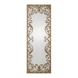 Uttermost - Apricena Decorative Gold Mirror - Add some Venetian charm to your favorite spaces. Antique gold leafing gives this enchanting mirror a warm glow. Hang it vertically in the foyer or horizontally over the mantel — or you could just hang it anywhere you want to catch a glance of a smiling face, framed in gold.