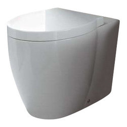 GSI - Round White Ceramic Floor Toilet with Seat and Cover - Need a toilet? This one is a floor modern & contemporary toilet that will fit perfectly into your contemporary master bathroom.