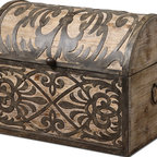 Abelardo Rustic Wooden Box - Lightly Stained Rustic Wood With Ornate Wrought Iron Metal Details. Hinged Lid Provides Easy Access For Storage.