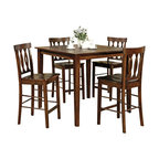 Steve Silver Co. - Richmond Counter Height Table Set, Espresso, 5 Pieces - Includes: Table & 4 Chairs. Comfortably seats four people. Works well within a small space. Multi-step Espresso finish. Contemporary style. Corner block construction. Tongue and groove joints. Select hardwood solids material. Some assembly required.