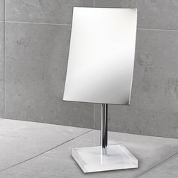 Gedy - Square Magnifying Mirror with White Base - Decorative pedestal magnifying mirror with white thermoplastic base. Pedestal magnifying mirror. Base is made of thermoplastic resins. White color. From the Gedy Rainbow Collection.